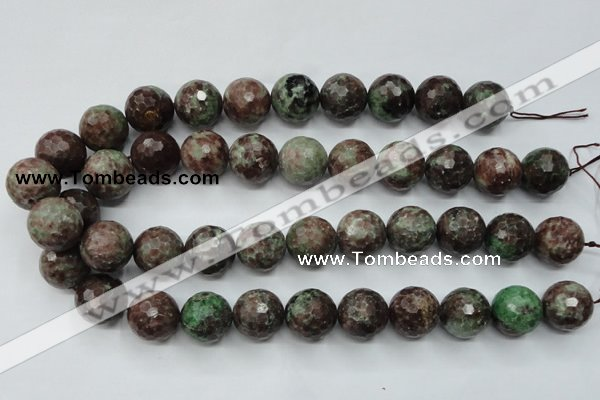 CGA318 15.5 inches 20mm faceted round red green garnet gemstone beads