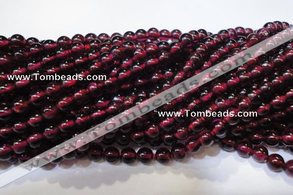 CGA357 15 inches 4mm round natural red garnet beads wholesale