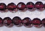 CGA362 14 inches 5mm faceted round natural red garnet beads wholesale