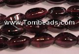 CGA376 15 inches 3*7mm twisted rice natural red garnet beads wholesale