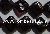 CGA409 15.5 inches 10*10mm diamond natural red garnet beads wholesale