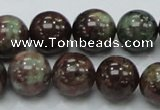 CGA52 15.5 inches 14mm round red green garnet gemstone beads