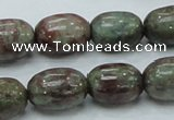 CGA54 15.5 inches 12*16mm egg-shaped red green garnet gemstone beads