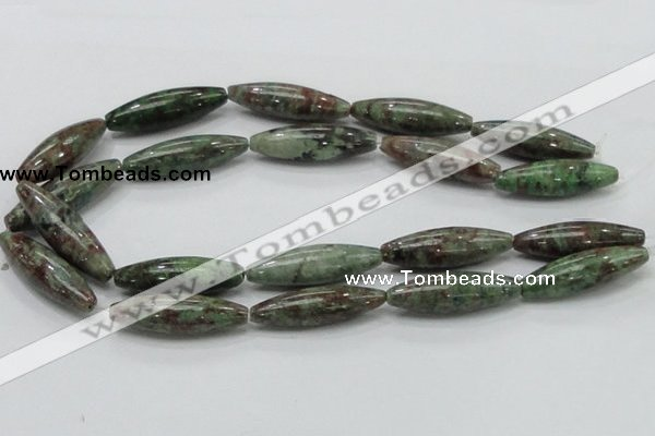 CGA56 15.5 inches 12*40mm rice red green garnet gemstone beads