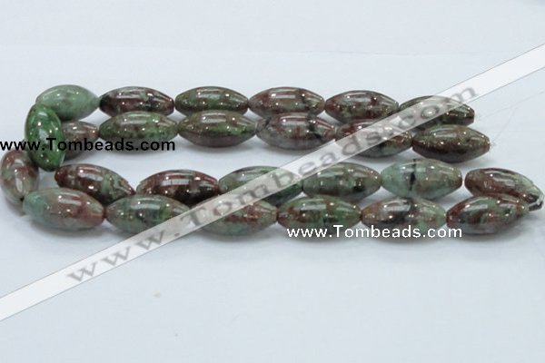 CGA57 15.5 inches 15*30mm rice red green garnet gemstone beads