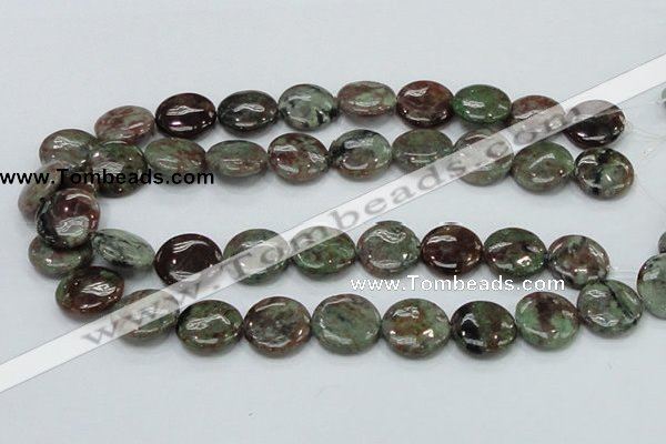CGA60 15.5 inches 20mm flat round red green garnet gemstone beads
