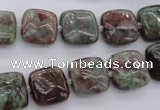 CGA63 15.5 inches 12*12mm square red green garnet gemstone beads