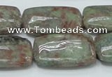 CGA64 15.5 inches 20*30mm rectangle red green garnet gemstone beads