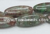 CGA69 15.5 inches 15*30mm horse eye red green garnet gemstone beads