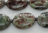 CGA72 15.5 inches 18*25mm oval red green garnet gemstone beads