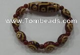 CGB101 Tibetan agate dZi beads & red agate beads stretchy bracelet