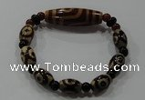 CGB102 Tibetan agate dZi beads & red agate beads stretchy bracelet