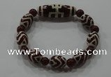 CGB104 Tibetan agate dZi beads & red agate beads stretchy bracelet