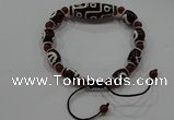 CGB106 Tibetan agate dZi beads & red agate beads adjustable bracelet