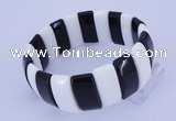 CGB231 8 inches 12*25mm rectangle black & white agate gemstone bracelet