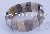 CGB234 8 inches 12*25mm rectangle bamboo leaf agate gemstone bracelet
