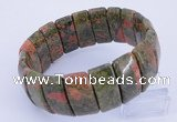 CGB240 8 inches 12*25mm rectangle unakite gemstone bracelet