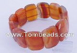 CGB246 8 inches 18*25mm faceted rectangle red agate gemstone bracelet