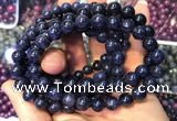 CGB2535 7.5 inches 9mm round sapphire gemstone beaded bracelets