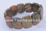 CGB254 8 inches 18*25mm faceted rectangle unakite gemstone bracelet