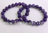 CGB2553 7.5 inches 10mm round charoite gemstone beaded bracelets