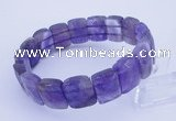 CGB264 7.5 inches 11*15mm faceted rectangle amethyst gemstone bracelet