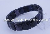 CGB267 7.5 inches 11*15mm faceted rectangle blue goldstone bracelet