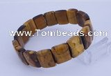 CGB268 7.5 inches 11*15mm faceted rectangle tiger eye gemstone bracelet