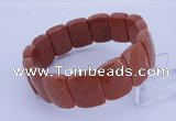 CGB275 7.5 inches 13*18mm faceted rectangle goldstone bracelet