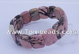 CGB277 7.5 inches 13*18mm faceted rectangle rhodonite gemstone  bracelet