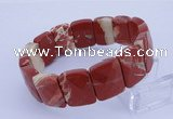 CGB278 7.5 inches 13*18mm faceted rectangle red jasper bracelet