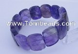 CGB282 7.5 inches 15*20mm faceted rectangle amethyst gemstone bracelet