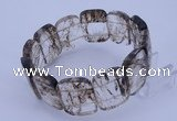 CGB284 8 inches 18*25mm faceted rectangle quartz gemstone bracelet