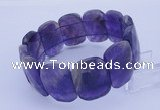 CGB286 8 inches 18*25mm faceted rectangle amethyst gemstone bracelet