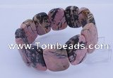 CGB290 8 inches 18*25mm faceted rectangle rhodonite gemstone bracelet