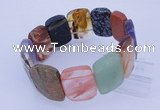 CGB291 8 inches 18*25mm faceted rectangle mixed gemstone bracelet