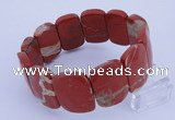 CGB292 8 inches 18*25mm faceted rectangle red jasper bracelet