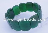 CGB294 8 inches 18*25mm faceted rectangle green agate gemstone bracelet