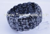 CGB297 8 inches 12*30mm faceted rectangle snowflake obsidian bracelet