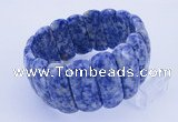CGB298 8 inches 12*30mm faceted rectangle blue spot gemstone bracelet