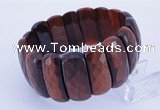 CGB299 8 inches 12*30mm faceted rectangle tiger eye gemstone bracelet
