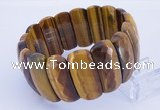 CGB300 8 inches 12*30mm faceted rectangle tiger eye gemstone bracelet