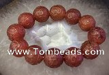 CGB3001 7.5 inches 19mm - 20mm carved round red agate bracelet