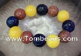 CGB3005 7.5 inches 20mm carved round mixed agate bracelet wholesale