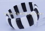 CGB304 8 inches 10*25mm faceted rectangle black & white agate bracelet