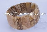 CGB308 8 inches 14*39mm faceted rectangle picture jasper bracelet