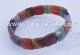 CGB312 7 inches 10*10mm faceted square mixed gemstone bracelet