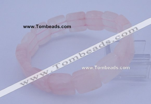 CGB313 7.5 inches 13*13mm faceted square rose quartz gemstone bracelet