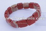 CGB315 7.5 inches 13*13mm faceted square red jasper gemstone bracelet