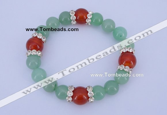 CGB323 7.5 inches round green aventurine & red agate gemstone bracelet